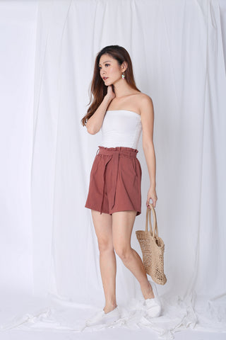 PAPERBAG LINEN SHORTS IN DUSTY CORAL