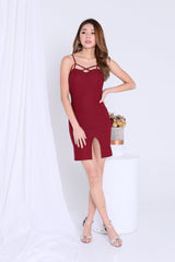 GREECE SIDE SLIT BODYCON DRESS IN BURGUNDY
