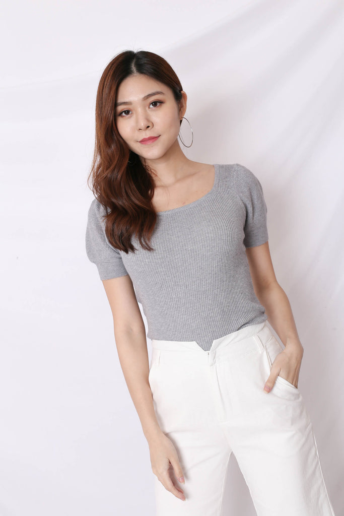 HERA SOFT KNIT TOP IN GREY