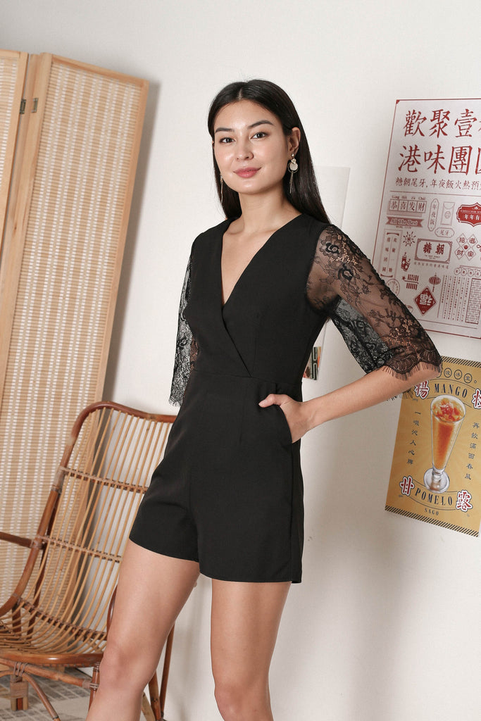 *TPZ* SHERYL LACE SLEEVES ROMPER IN BLACK