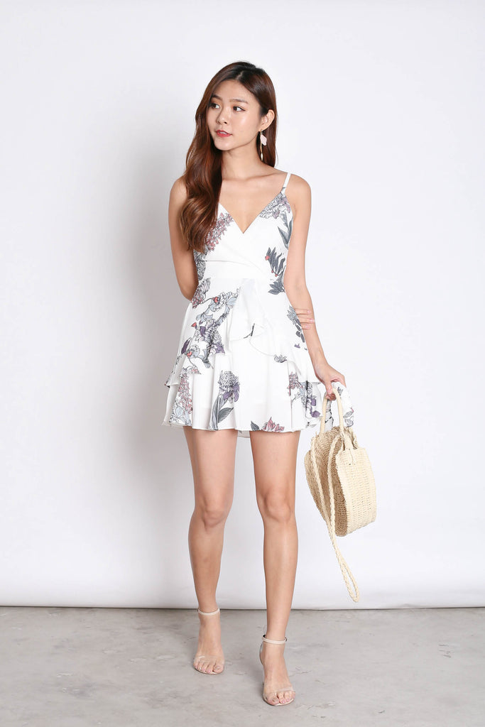 *TPZ* (PREMIUM) SAGE RUFFLES DRESS ROMPER IN WHITE FLORALS (VERSION 2)
