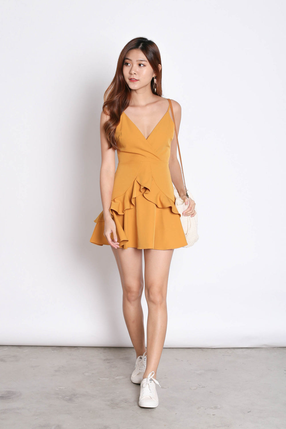 *TPZ* (PREMIUM) SAGE RUFFLES DRESS ROMPER IN MARIGOLD