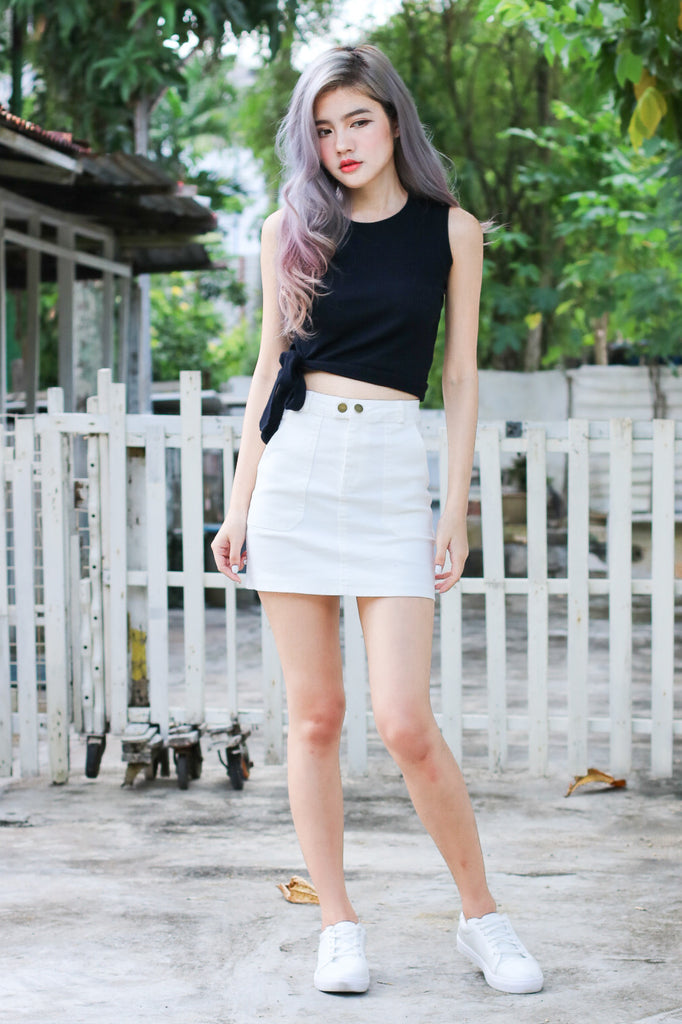 ESSENTIAL DENIM SKIRT IN WHITE - TOPAZETTE