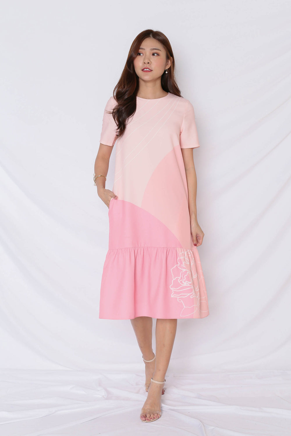 (PREMIUM) REUNION DROP WAIST DRESS IN PINK