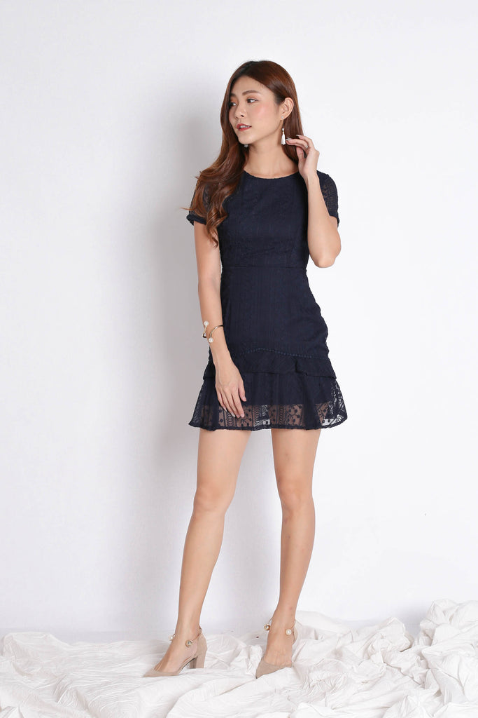 (PREMIUM) HARMONIE LACE ORGANZA DRESS IN NAVY