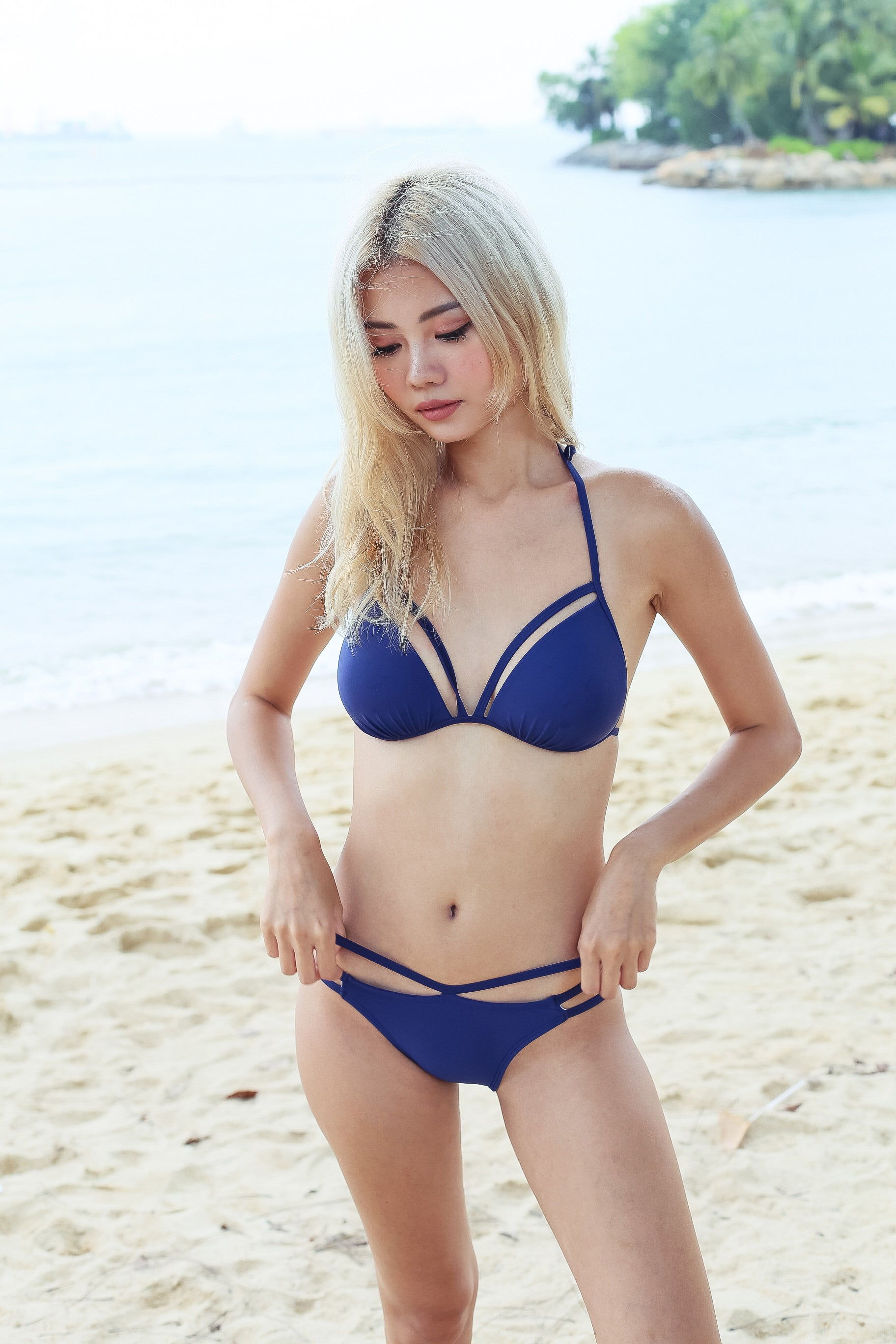 *RESTOCKED* BOARDWALK STRAPPY BIKINI SET (NAVY)