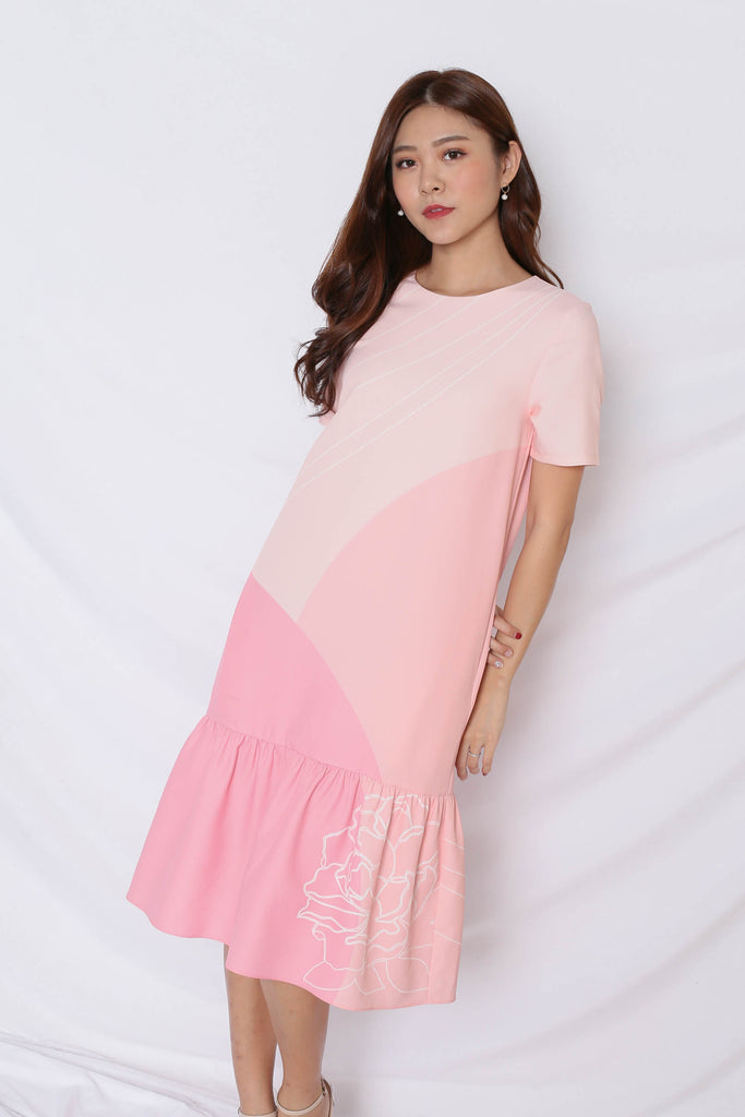 (PREMIUM) REUNION DROP WAIST DRESS IN PINK - TOPAZETTE