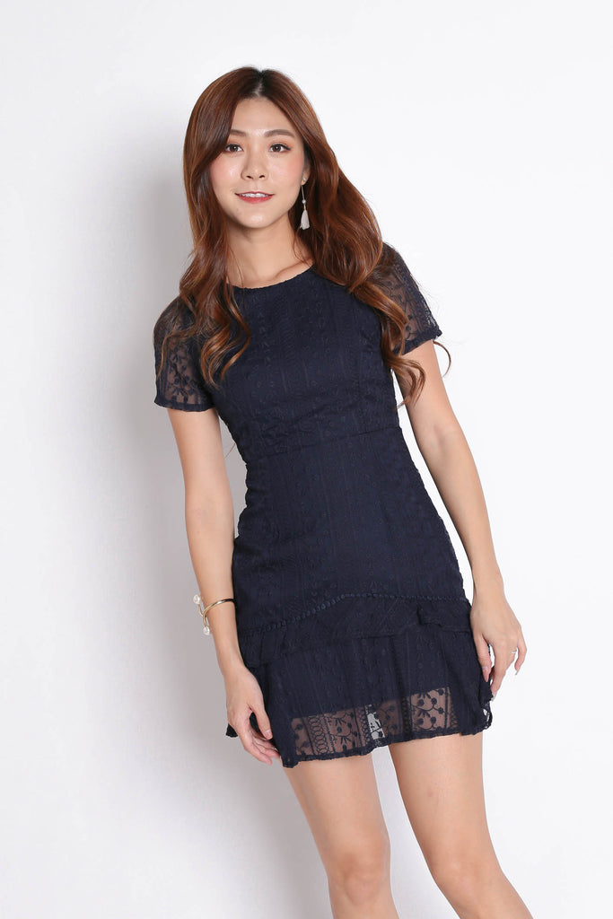 (PREMIUM) HARMONIE LACE ORGANZA DRESS IN NAVY - TOPAZETTE