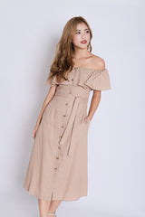 *TPZ* (PREMIUM) GWENNA OFF SHOULDER LINEN DRESS IN KHAKI