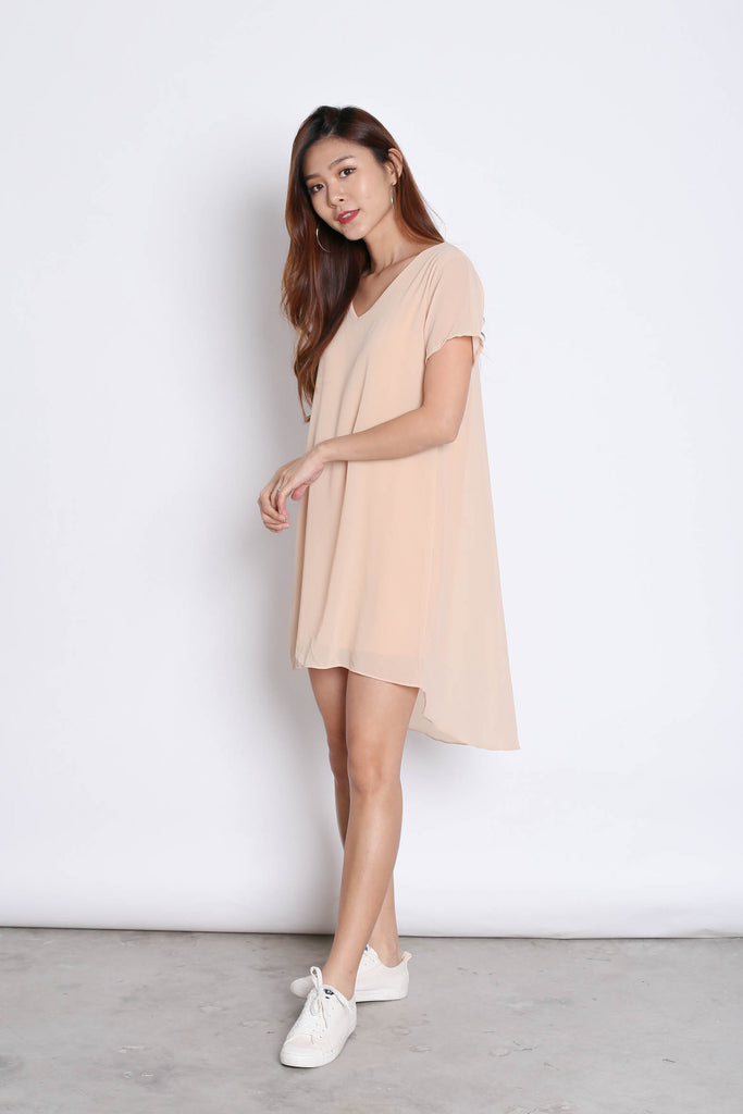 SHASTA DRESS IN NUDE - TOPAZETTE