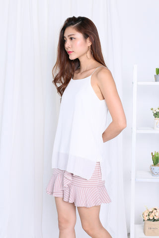 AUDREY SLIT SPAG TOP IN WHITE