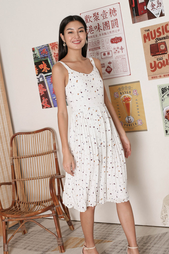 *TPZ* KYRA TERRAZZO PLEATED DRESS IN WHITE