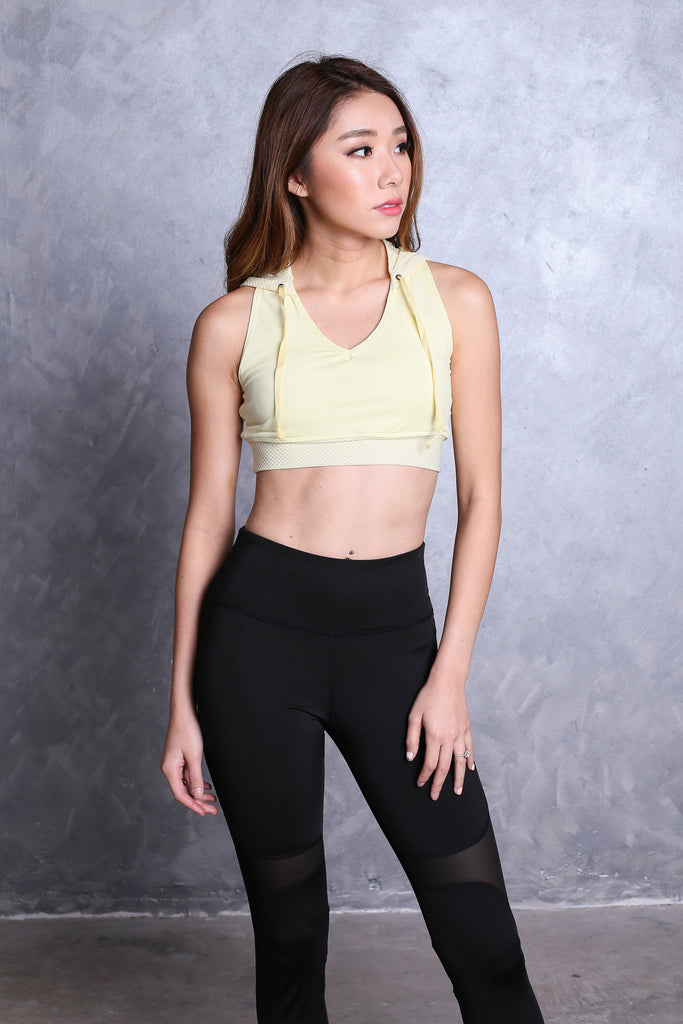 HOODIE SPORTS BRA IN SUNSHINE - TOPAZETTE