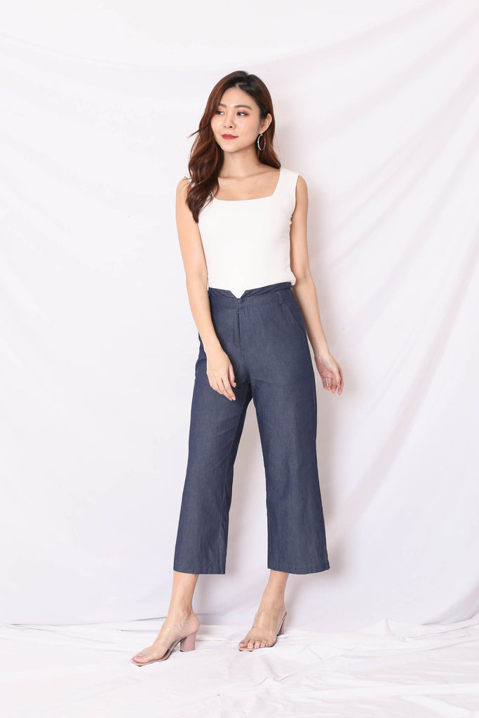 (PREMIUM) SCARLETT LINEN PANTS IN DARK DENIM