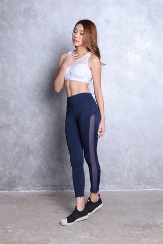 SIDE MESH PANEL ACTIVE TIGHTS IN NAVY