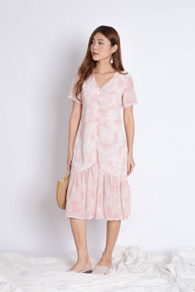PALMS BUTTON DOWN FLOWY DRESS IN PINK - TOPAZETTE