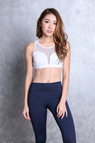 KALLIE NETTED SPORTS BRA IN WHITE
