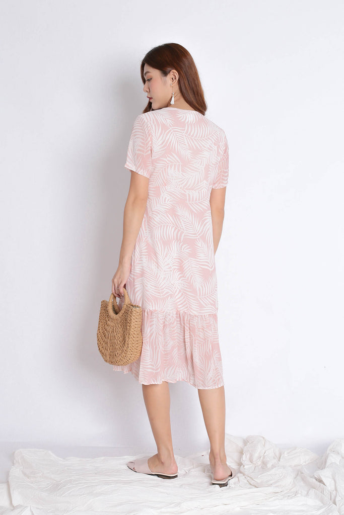 PALMS BUTTON DOWN FLOWY DRESS IN PINK
