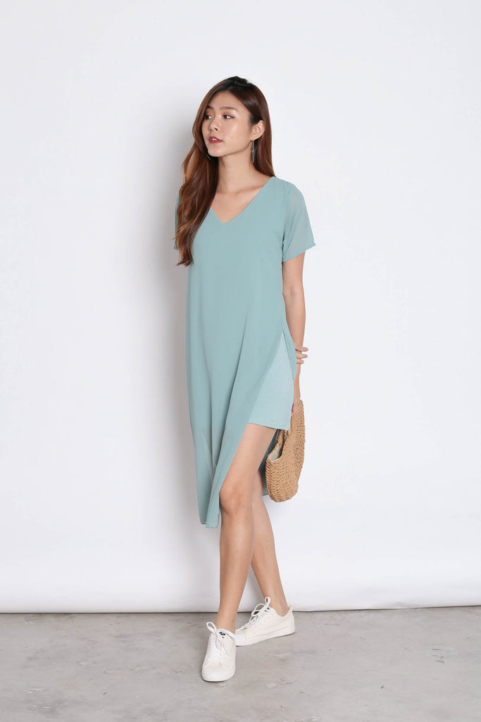PEYTON CHIFFON OVERLAY DRESS IN DUSTY CYAN - TOPAZETTE