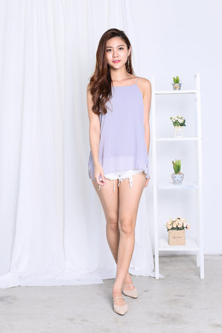 AUDREY SLIT SPAG TOP IN GREY