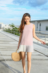 *TPZ* (PREMIUM) NIKS PLEATED COLOURBLOCK DRESS IN DUSTY PINK