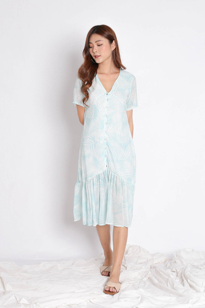 PALMS BUTTON DOWN FLOWY DRESS IN MINT - TOPAZETTE