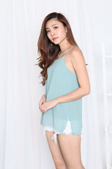 AUDREY SLIT SPAG TOP IN SEAFOAM