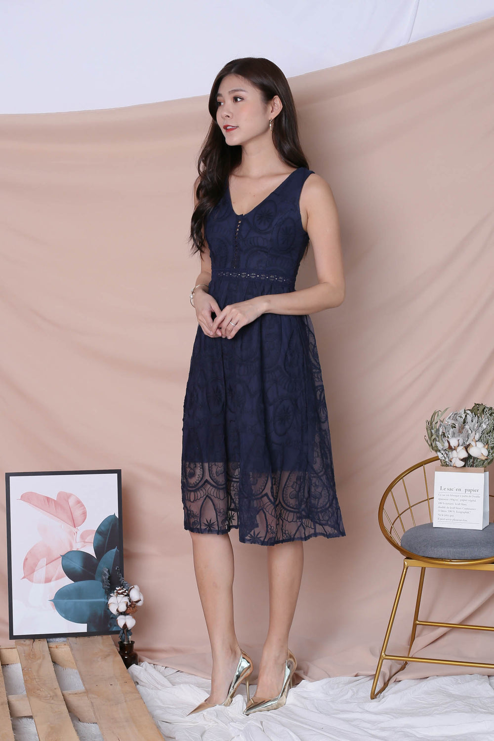 *TPZ* (PREMIUM) KASIA ORGANZA LACE DRESS IN NAVY
