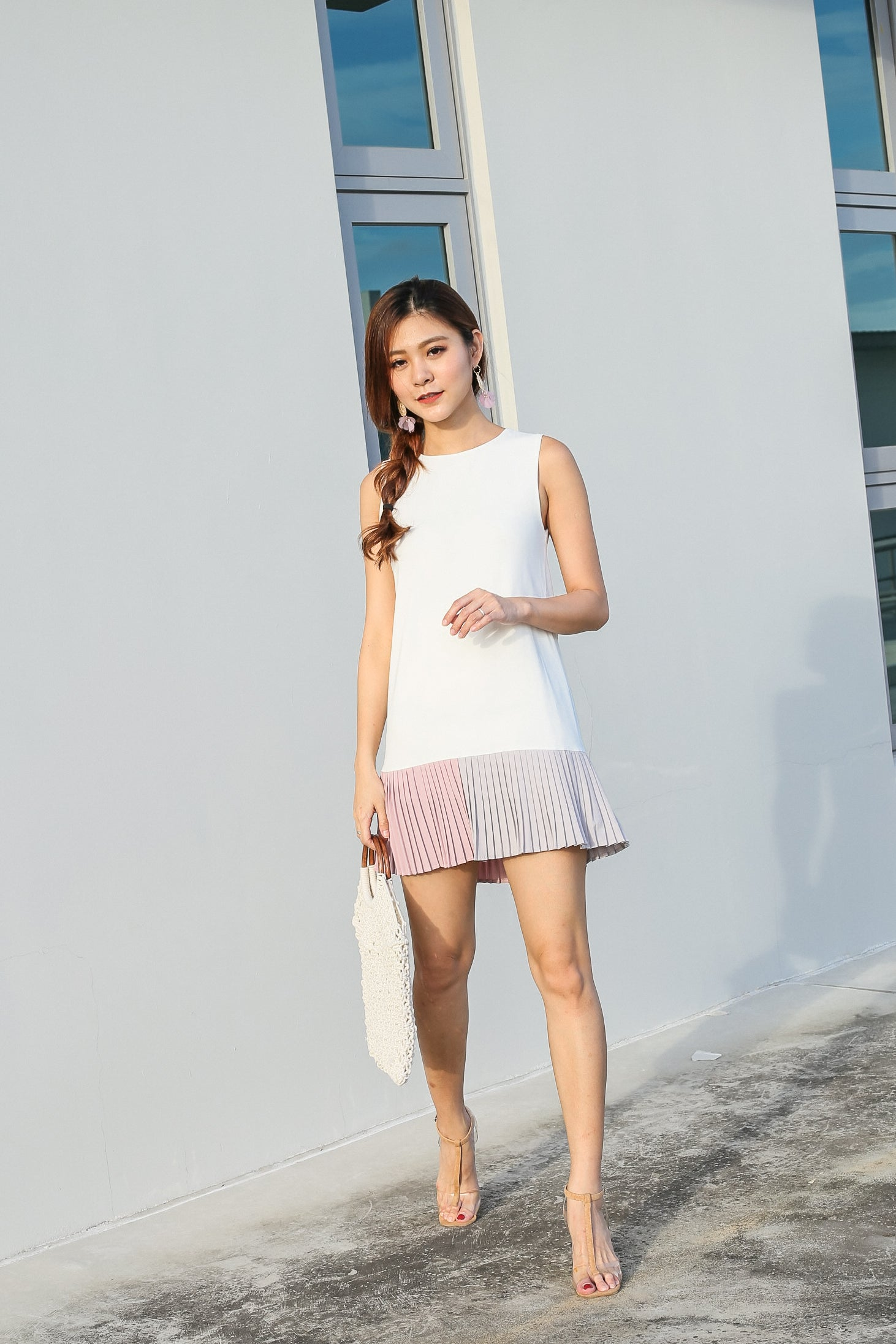 *TPZ* (PREMIUM) NIKS PLEATED COLOURBLOCK DRESS IN WHITE