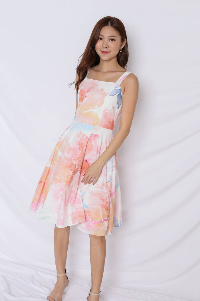 (PREMIUM) SPRING BLOOM 2 WAY SKATER DRESS - TOPAZETTE