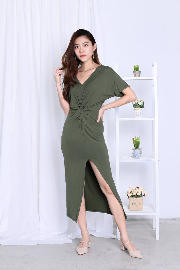 *BACKORDER* JORDYN SLIT MAXI IN OLIVE - TOPAZETTE