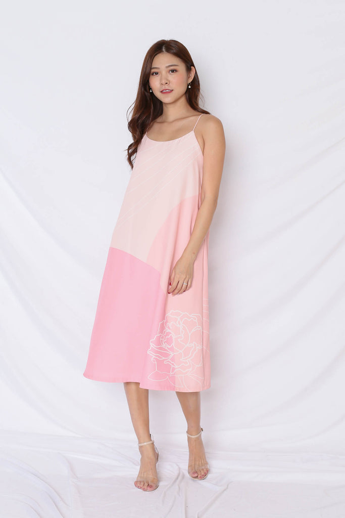 (PREMIUM) REUNION SPAG TENT DRESS IN PINK - TOPAZETTE