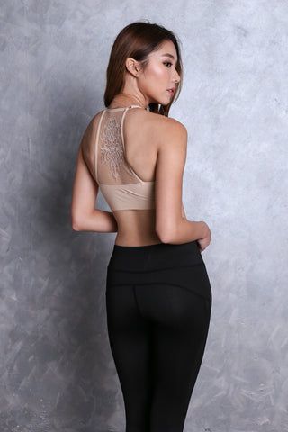 SEAMLESS MESH BACK EMBROIDERY BRA IN NUDE