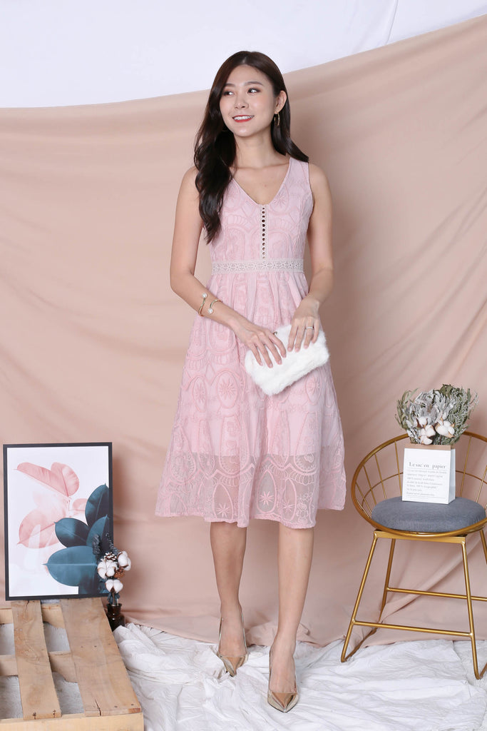 *TPZ* (PREMIUM) KASIA ORGANZA LACE DRESS IN DUSTY PINK - TOPAZETTE