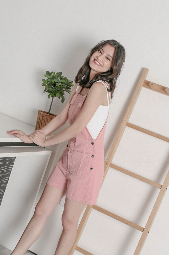 *TPZ* MESA DENIM DUNGAREE IN BABY PINK