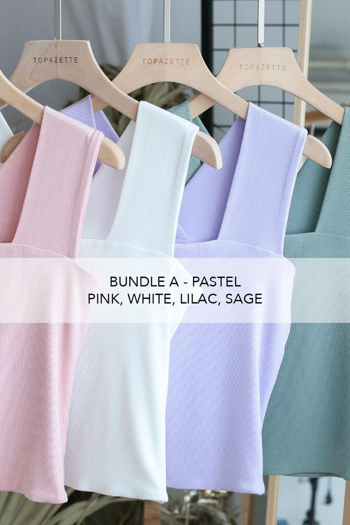 ZALIA SQUARE NECK V TOP IN LILAC (BUNDLE A - PASTEL)