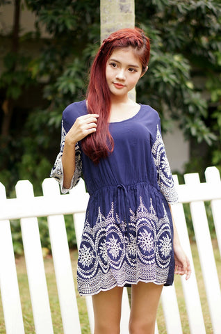 JEWELS EMBROIDERY DRESS IN NAVY - TOPAZETTE