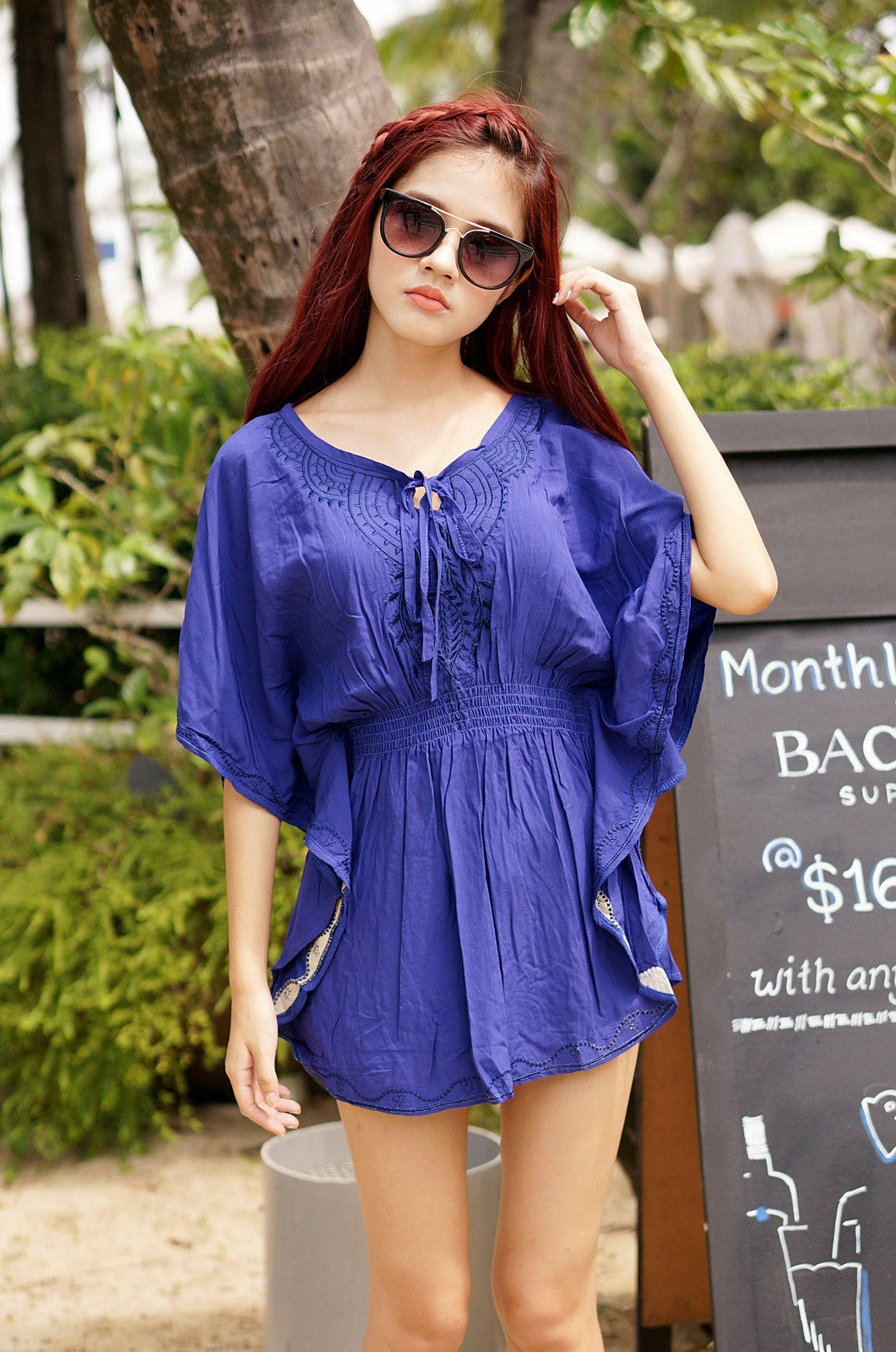 LEXI BOHO TUNIC IN ROYAL BLUE - TOPAZETTE