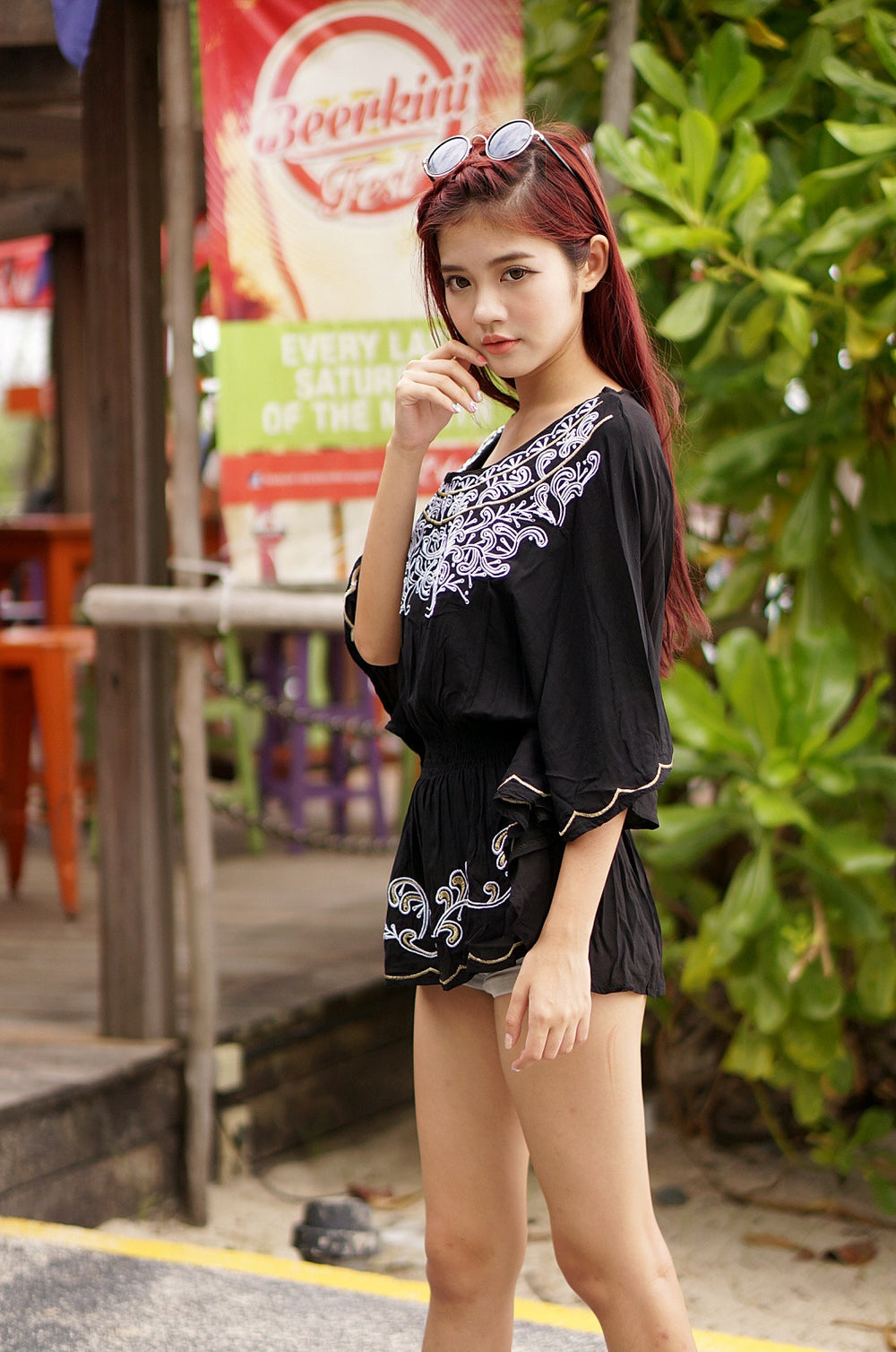 WILLOW BOHO TOP IN BLACK