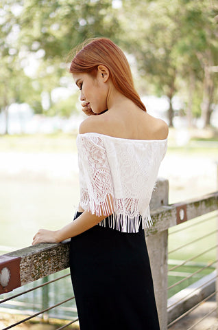 DETAILED LACE TOP IN WHITE - TOPAZETTE