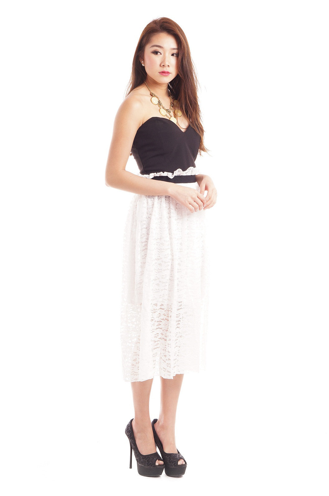 PAPERBAG LACE MIDI SKIRT IN WHITE - TOPAZETTE