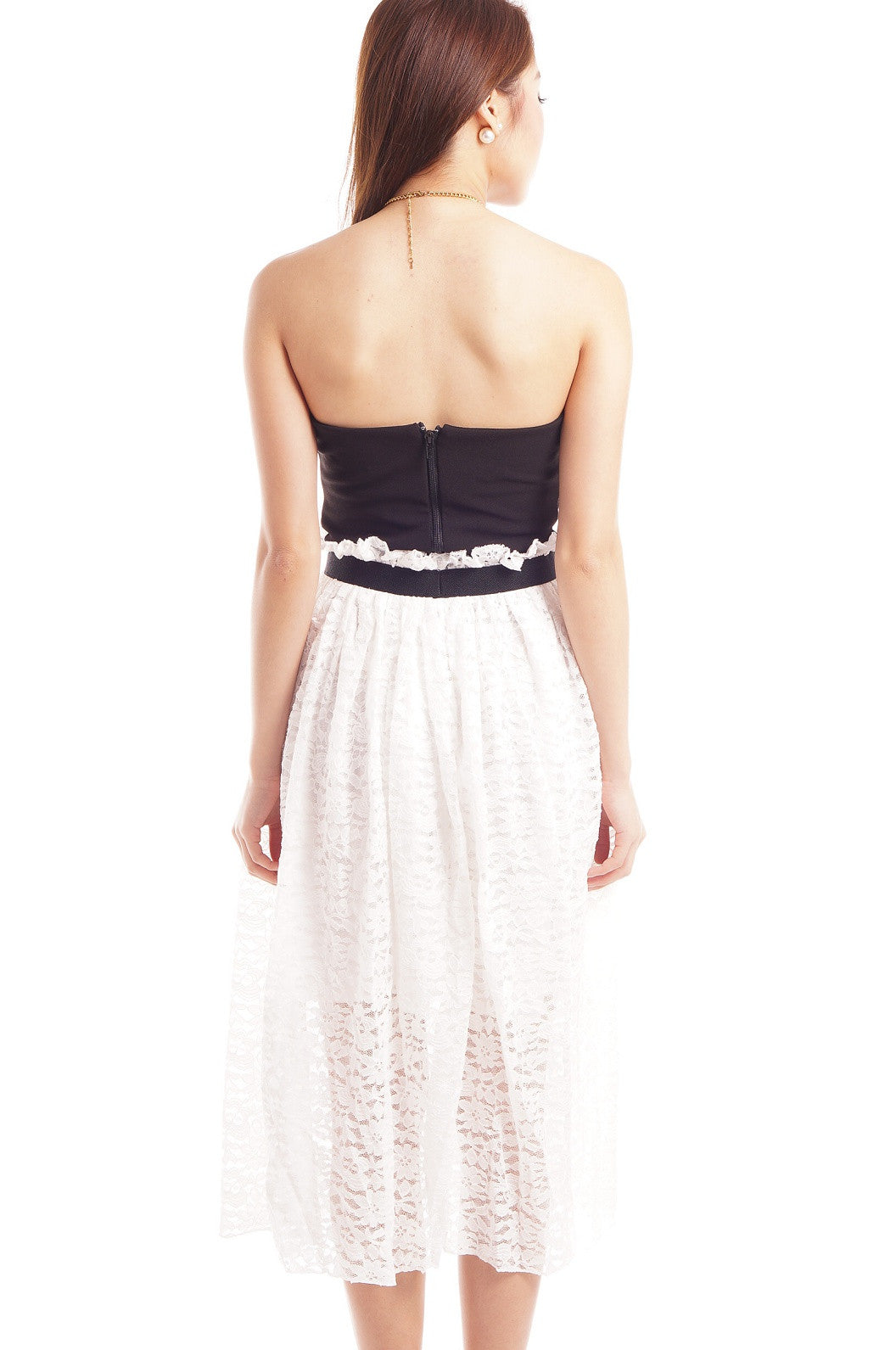 PAPERBAG LACE MIDI SKIRT IN WHITE