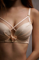 LUXE CROSS WRAP BRA AND PANTIES SET IN NUDE - TOPAZETTE