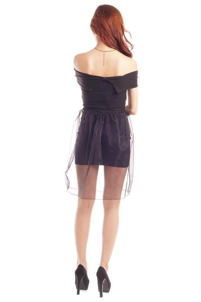 XENA ORGANZA OVERLAY DRESS IN BLACK - TOPAZETTE