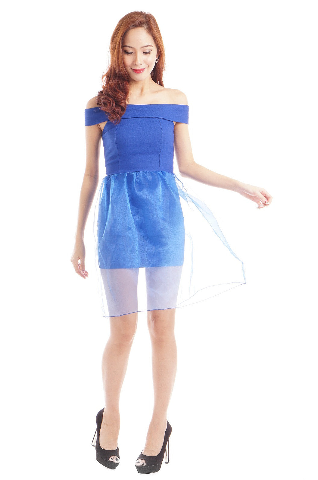 XENA ORGANZA OVERLAY DRESS IN ROYAL BLUE