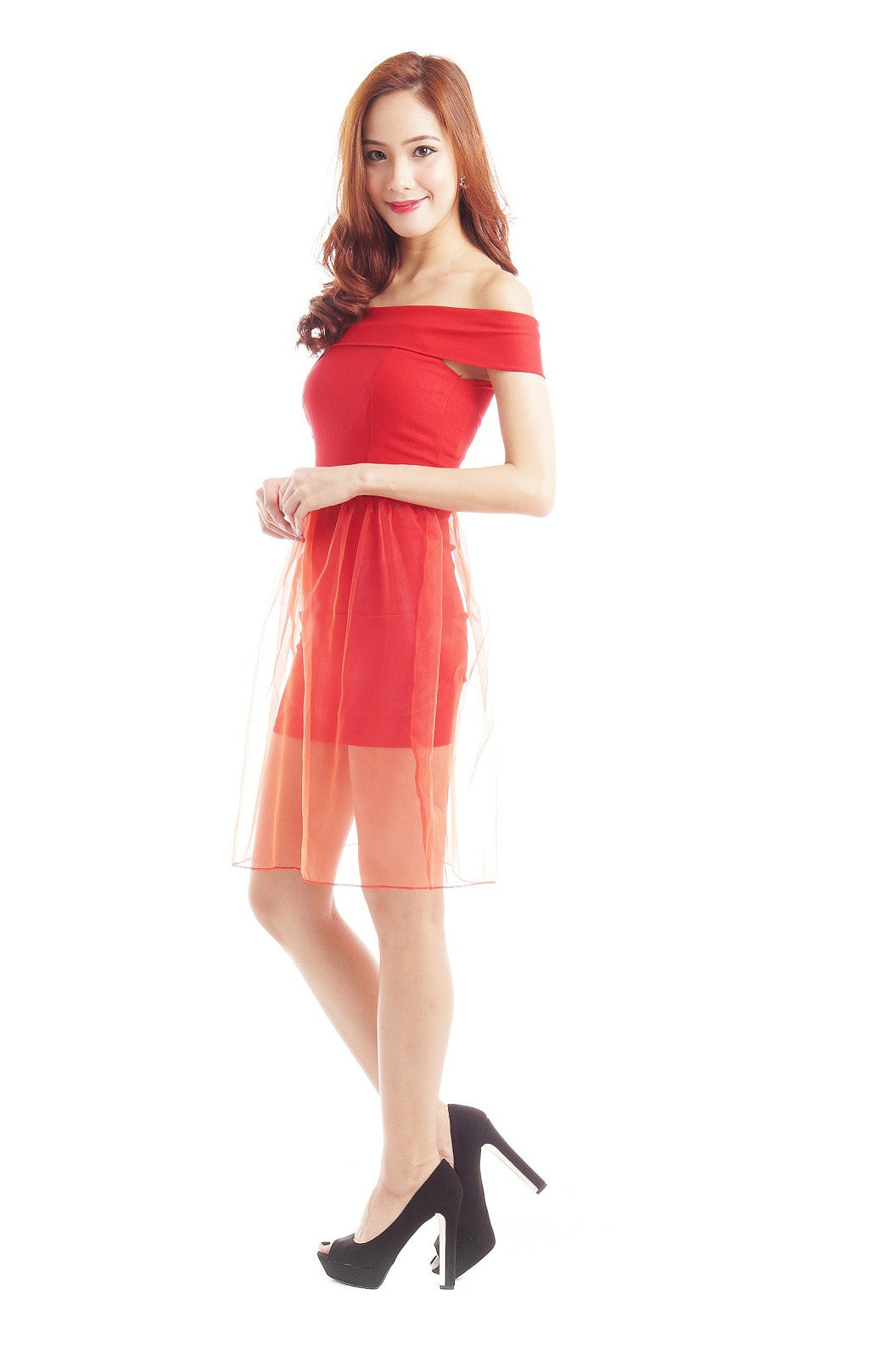 XENA ORGANZA OVERLAY DRESS IN RED