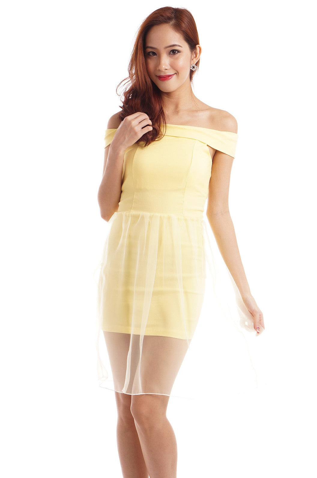 XENA ORGANZA OVERLAY DRESS IN DAFFODIL