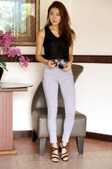 MINIMALIST SLIT JEGGING IN GREY