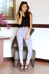 MINIMALIST SLIT JEGGING IN GREY - TOPAZETTE