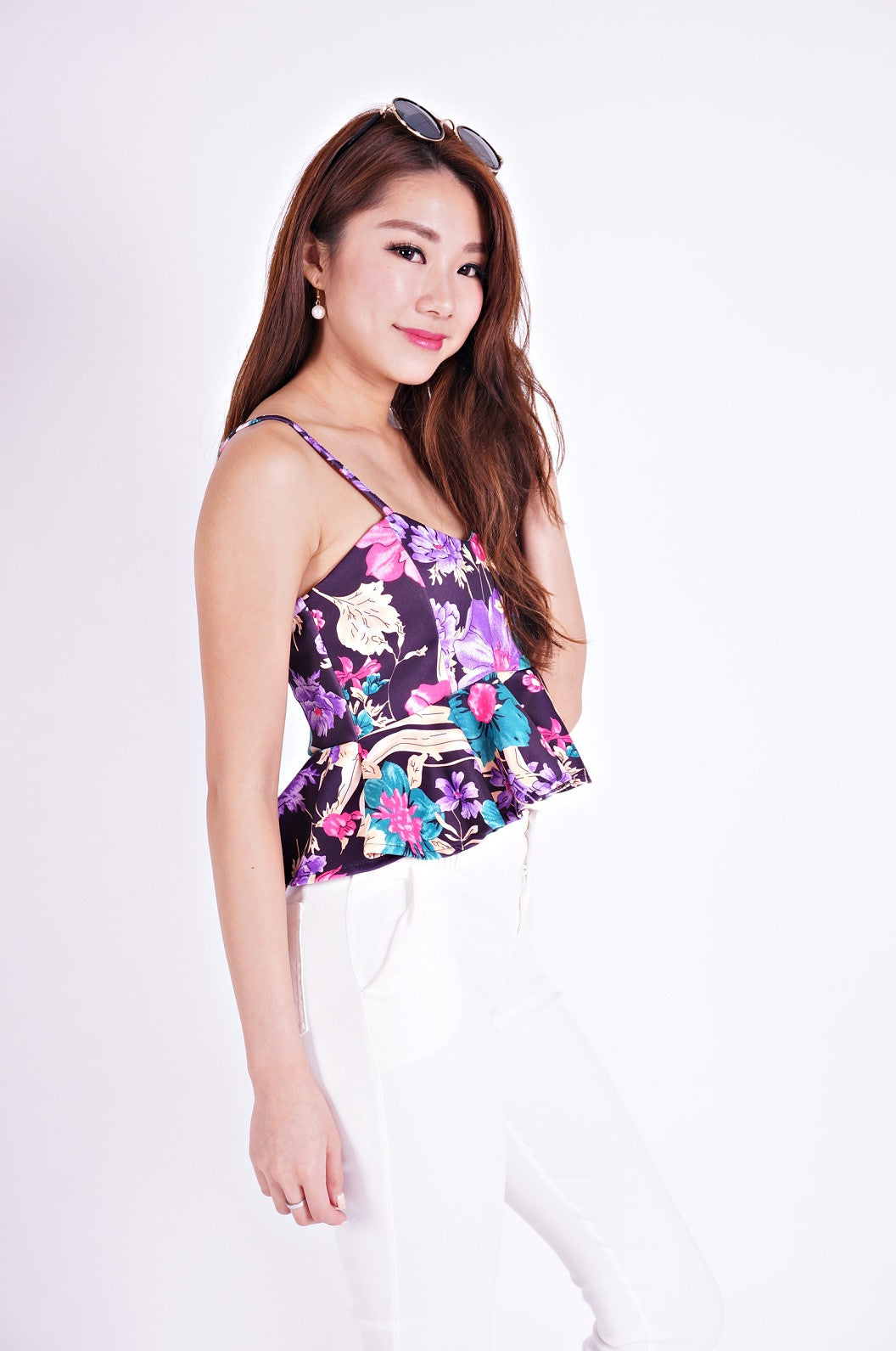 SHINE FLORAL BABYDOLL TOP